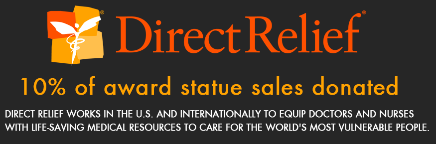 direct-relief logo - we are donating 10% of this year's statue sales to direct relief for medical supplies around the world